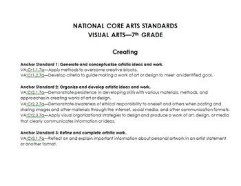6th-8th Grade Art Curriculum Middle School Full Year