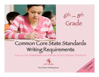 6th-8th Grade CCSS Writing Checklists - Writing & Language