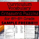 6th-8th Grade Curriculum Vocab Crossword Puzzles SAMPLE FREEBIE