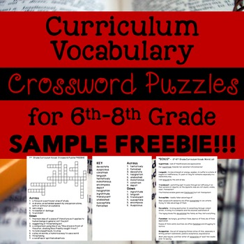 6th-8th Grade Curriculum Vocab Crossword Puzzles SAMPLE FREEBIE