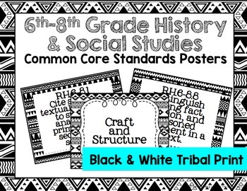 6th-8th Grade History & Social Studies Common Core Posters- Black & White Print