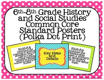 6th-8th Grade History and Social Studies Common Core Posters- Polka Dot Print