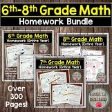6th-8th Grade Math Homework Bundle DISTANCE LEARNING