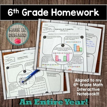 6th-8th Grade Math Homework Bundle DISTANCE LEARNING