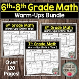 6th-8th Grade Math Warm-Ups (Middle School Math Warmups) DISTANCE LEARNING