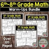 6th-8th Grade Math Warm-Ups (Middle School Math Warmups) D