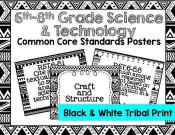 6th-8th Grade Science & Technology Common Core Posters- Black & White Print