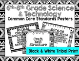 6th-8th Grade Science & Technology Common Core Posters- Bl