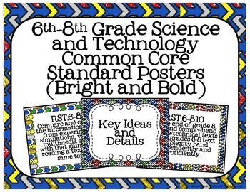 6th-8th Grade Science and Technology Common Core Posters- Bright and Bold Print