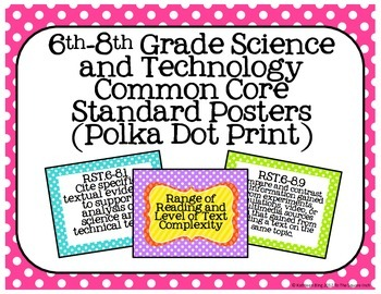 6th-8th Grade Science and Technology Common Core Posters- Polka Dot Print