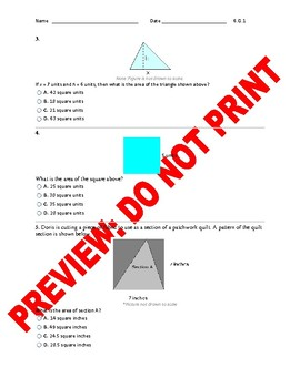 6th CCSS Math Area Assessment 6.G.1