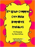 6th Common Core Math Homework Printables *All Standards*