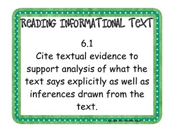 6th Common Core Reading Informationl Text Standard Posters