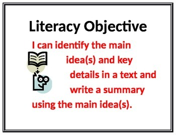 6th Common Core State Standards Literacy Objective Visuals