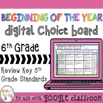 6th Digital Beginning of the Year EDITABLE Math Choice Board – Distance Learning