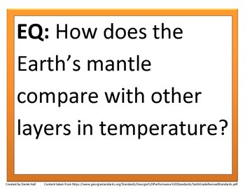 6th GPS Science Essential Questions (Earth Science)