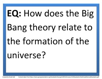 6th GPS Science Essential Questions (Space Science)