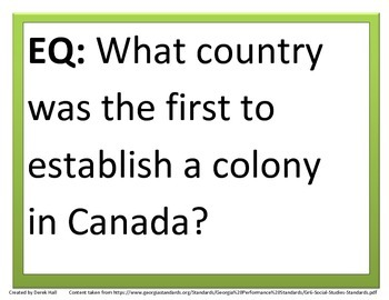 6th GPS Social Studies Essential Questions (Canada & Australia)