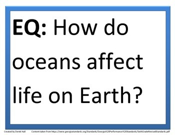 6th GPS Science Essential Questions (Water Science)