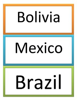 6th GPS Social Studies Latin American Geography Word Wall