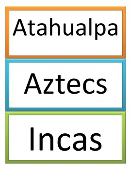 6th GPS Social Studies Latin American History Word Wall
