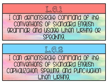 6th GRADE LANGUAGE STANDARDS POSTERS