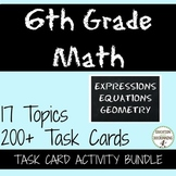 6th GRADE MATH Expressions, Equations and Geometry Task Card Activity Bundle
