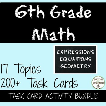 6th GRADE MATH Activities Expressions, Equations and Geometry Task Card Bundle