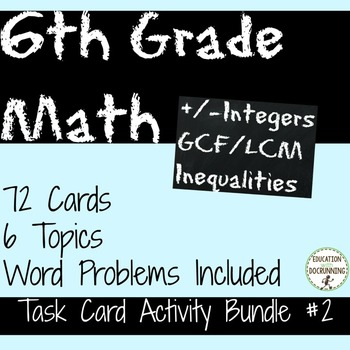 6th Grade Math Number System Task Card Activity - Bundle 2