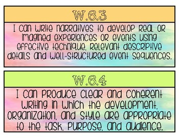 6th GRADE WRITING STANDARDS POSTERS