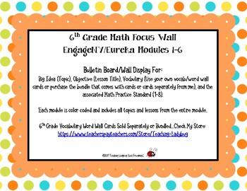6th Gade Math Focus Wall - Modules 1-6 EngageNY/Eureka Math