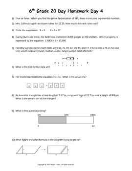 6th Grade 20 Days to Math STAAR