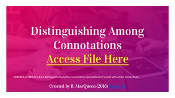 6th Grade 6.L.5 Distinguishing Among Connotations (Google Drive)