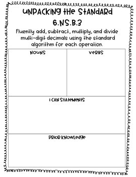 6th Grade Decimal Operations Student Guided Notes