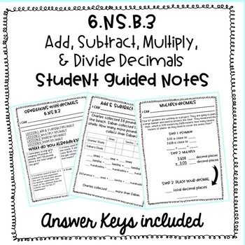 Decimal Operations Student Guided Notes