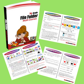 6th Grade + 7th Grade File Folder Math Games Books