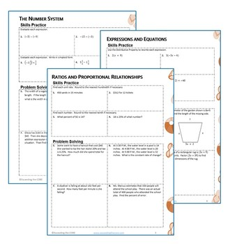 6th Grade ALL YEAR MATH PACKETS Bundle { COMMON CORE Assessment}