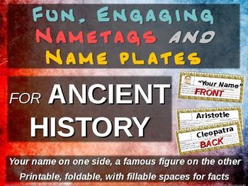 6th Grade ANCIENT HISTORY name tags - 30 names (printable, foldable)