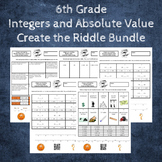 6th Grade:  Absolute Value & Integers Create the Riddle Activity Bundle