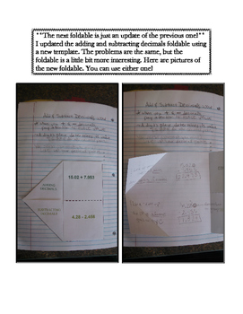 6th Grade Adding and Subtracting Decimals Lesson: FOLDABLE & Homework