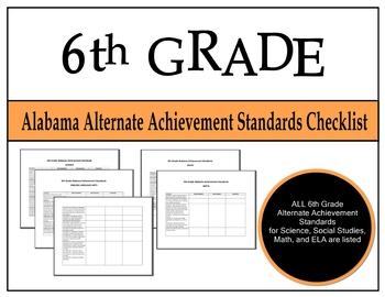 6th Grade Alabama Alternate Achievement Standards Checklist