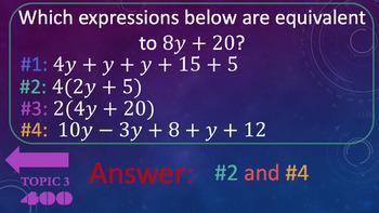 6th Grade Algebra Jeopardy