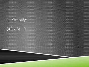 6th Grade Algebra Standards Review