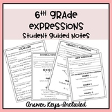 6th Grade Algebraic Expressions Guided Notes