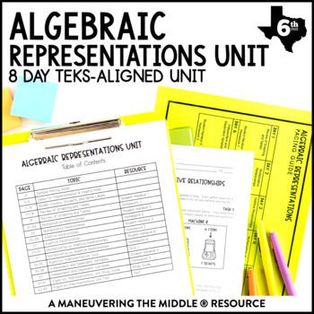 6th Grade Algebraic Representations Unit: TEKS 6.4A, 6.6A, 6.6B, 6.6C, 6.11A