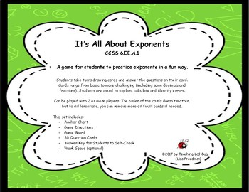 6th Grade - All About Exponents Game