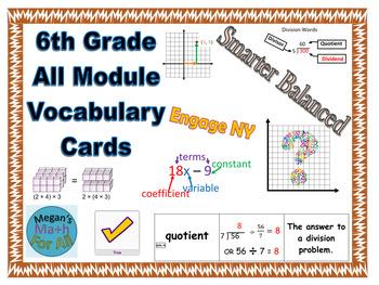 6th Grade All Module Eureka/Engage Vocabulary Cards BUNDLE - Editable