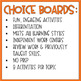6th Grade | American History | Student Activity Choice Boards