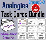 Completing Analogies Task Cards: 6th - 8th Grade Vocabulary Practice Bundle