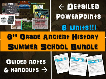 6th Grade Ancient History SUMMER SCHOOL BUNDLE: 8 detailed units